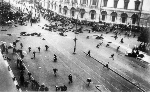 REVOLUTION Bulla. Riot on Nevsky 1917. Photograph courtesy of The Bulla Museum, St. Petersburg