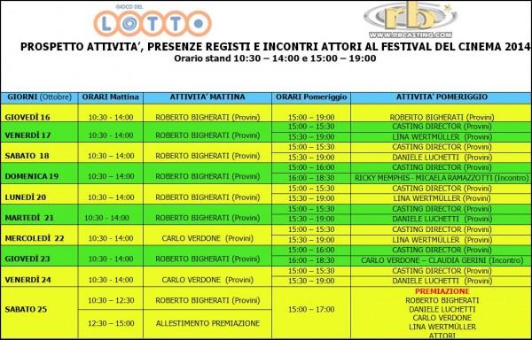 RB CASTING CALENDARIO FESTIVAL DEL CINEMA DI ROMA 16-25 OTTOBRE 2014